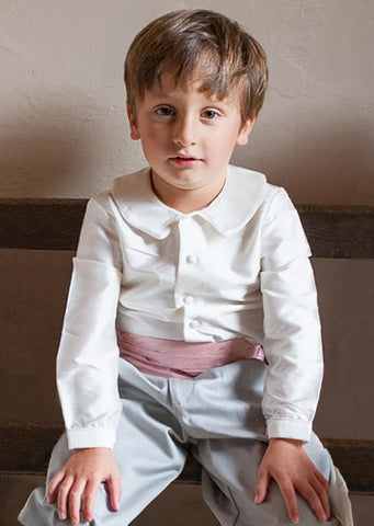 Page Boy in Ivory, Pink and Grey by Amelia Brennan Weddings