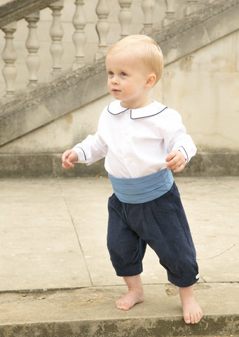 Pageboy in Navy Needlecord Knickerbockers by Amelia Brennan Weddings