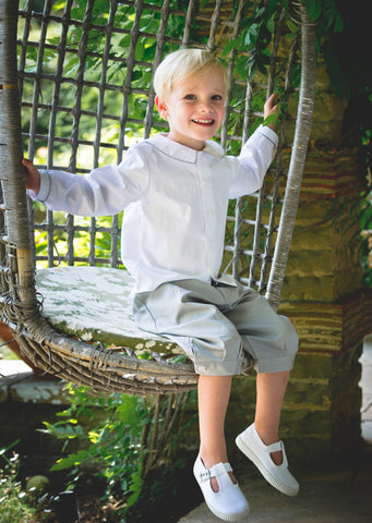 Pageboy in Grey Chino Knickerbockers by Amelia Brennan Weddings