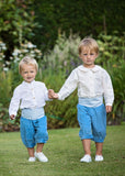 Pageboys in Blue Knickerbockers by Amelia Brennan Weddings