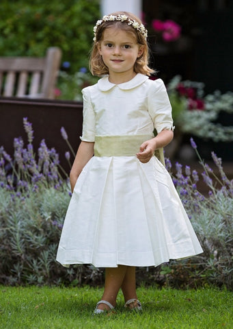 Ivory Silk Flower girl dress with Peter Pan collar by Amelia Brennan Weddings