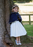 Navy Wool Flowergirl Cape