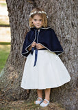 Navy Wool Girl's Bridesmaid Cape