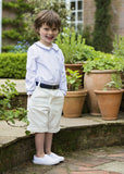 Amelia Brennan - Page Boy outfit with braces, shorts and navy piped shirt
