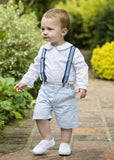 Amelia Brennan - Page Boy outfit with braces, shorts and blue piped shirt