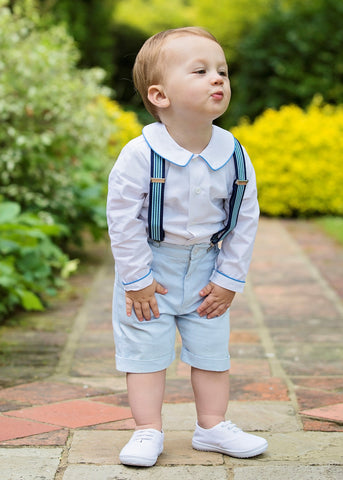 Pageboy wears blue pinstripe shorts by Amelia Brennan Weddings