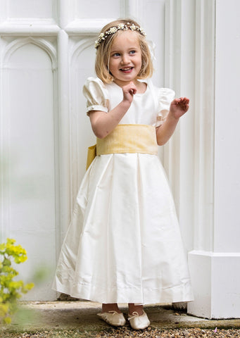 Ivory Silk Flower girl dress with puffed sleeves by Amelia Brennan Weddings