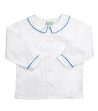 White Peter Pan Collared Shirt with Blue Piping - Amelia Brennan