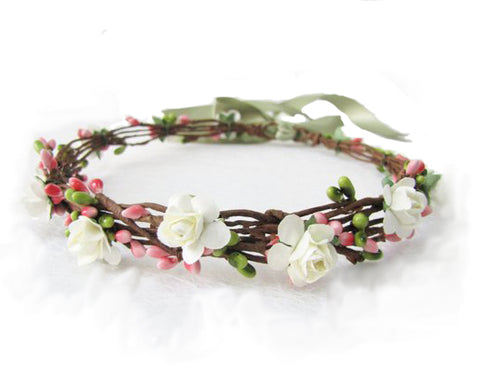 Floral Head piece for flower girls in ivory and pink