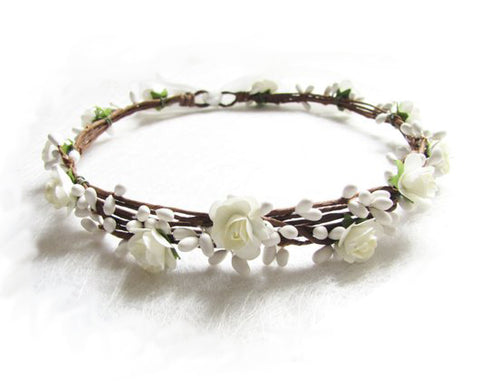 Floral Head piece for flower girls in ivory and white