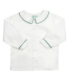 White Peter Pan Collared Shirt with Green Piping - Amelia Brennan