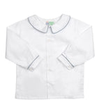 White Peter Pan Collared Shirt with Grey Piping - Amelia Brennan