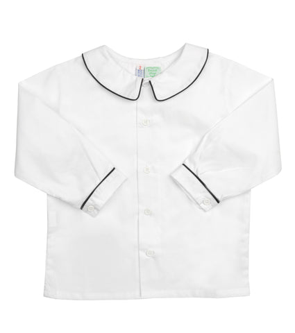 White Peter Pan Collared Shirt with Navy Piping - Amelia Brennan