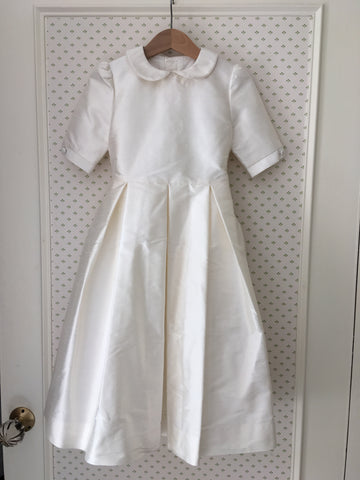 Slim-fit Ivory Silk Bridesmaid Dress with Peter Pan Collar: Size 4yr