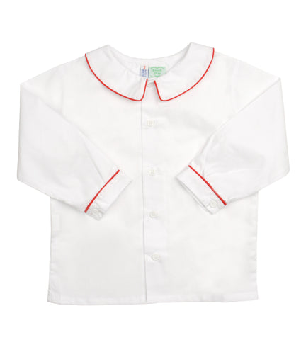 White Peter Pan Collared Shirt with Red Piping - Amelia Brennan