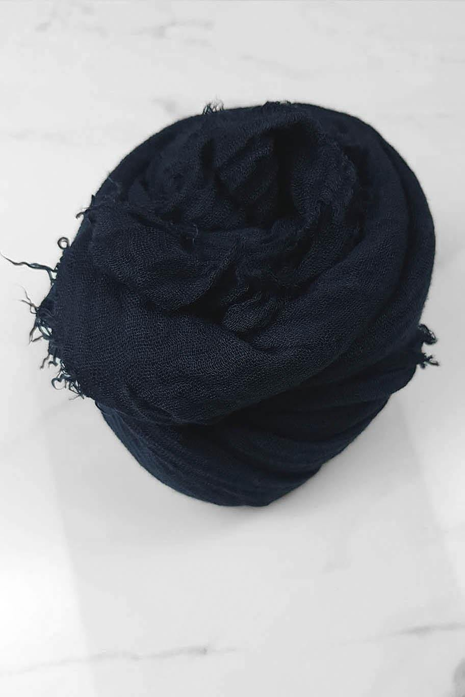 Midnight Blue Crinkle Cotton - Crinkle Cotton Hijabs - The Modest Look