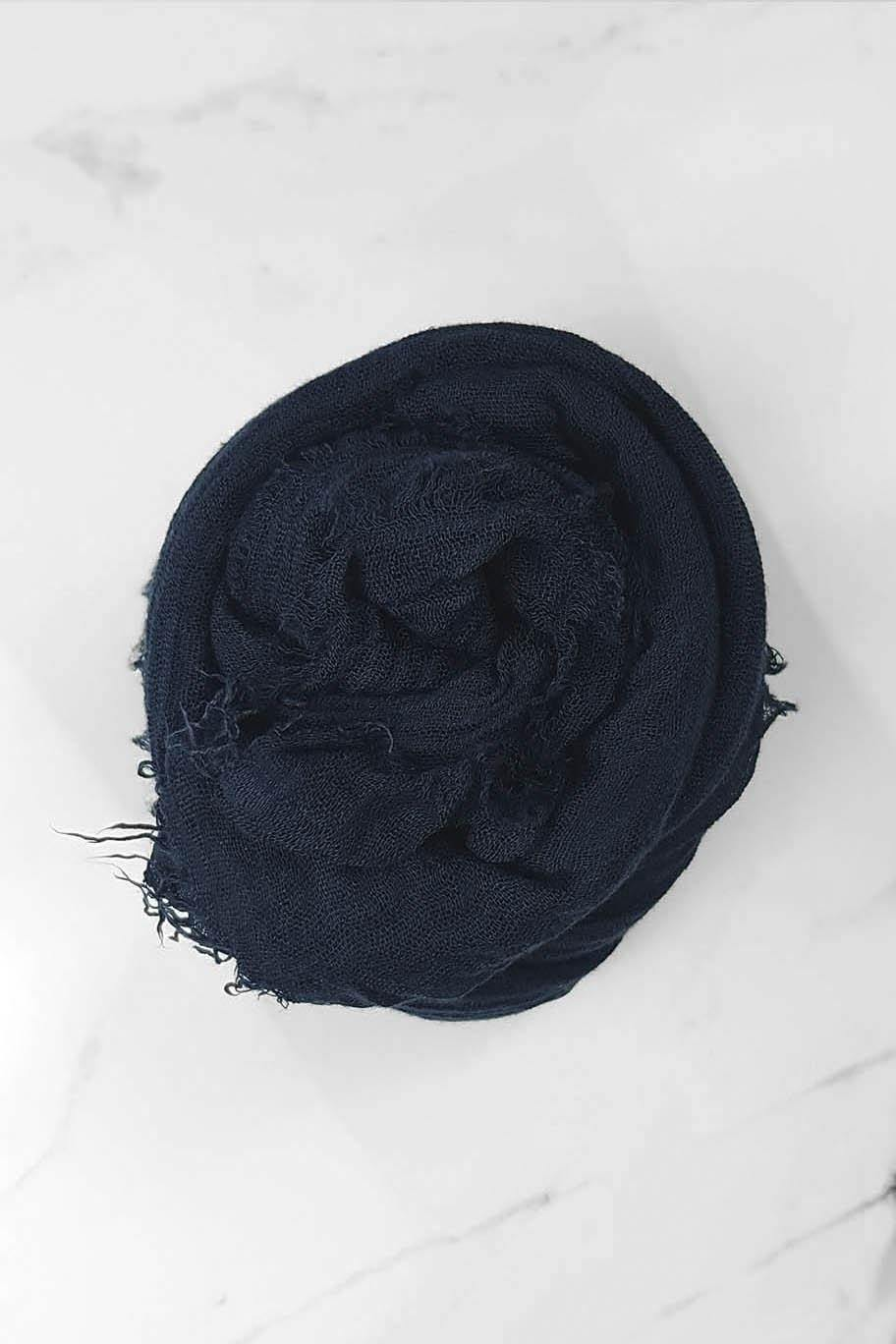 Midnight Blue Crinkle Cotton