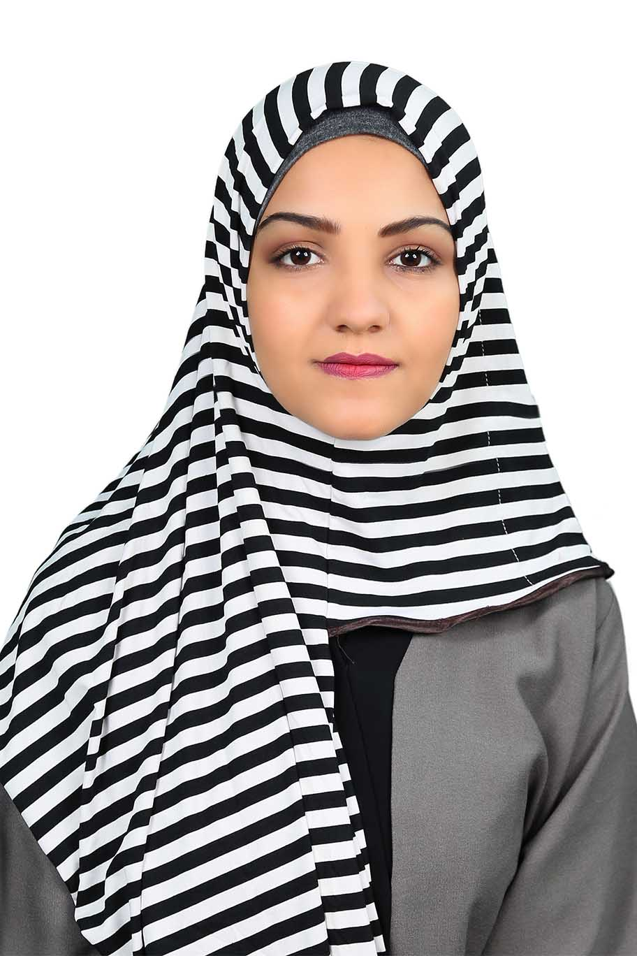 Black & White Striped Ready To Wear Hijab - Jersey Hijab - The Modest Look