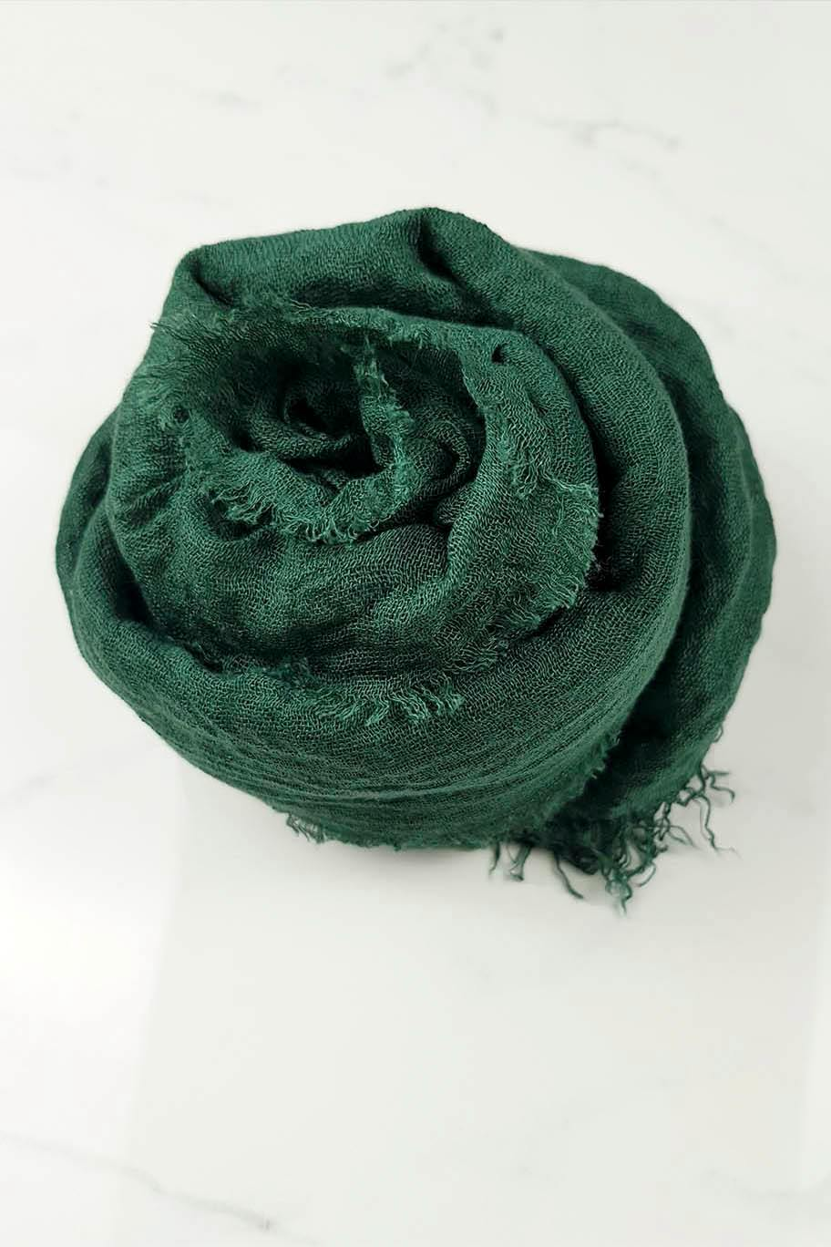 Bottle Green Crinkle Cotton - Crinkle Cotton Hijabs - The Modest Look