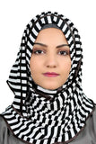 Black & White Striped Ready To Wear Hijab with Border - Jersey Hijab - The Modest Look