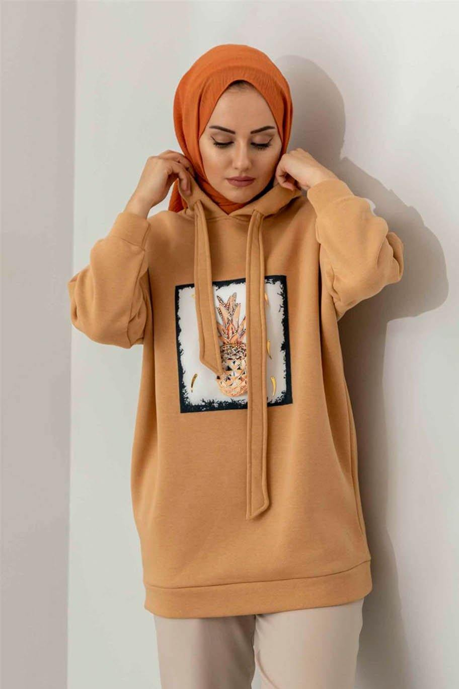 Coffee Brown Cotton Hoodie with Cute Print -  - The Modest Look
