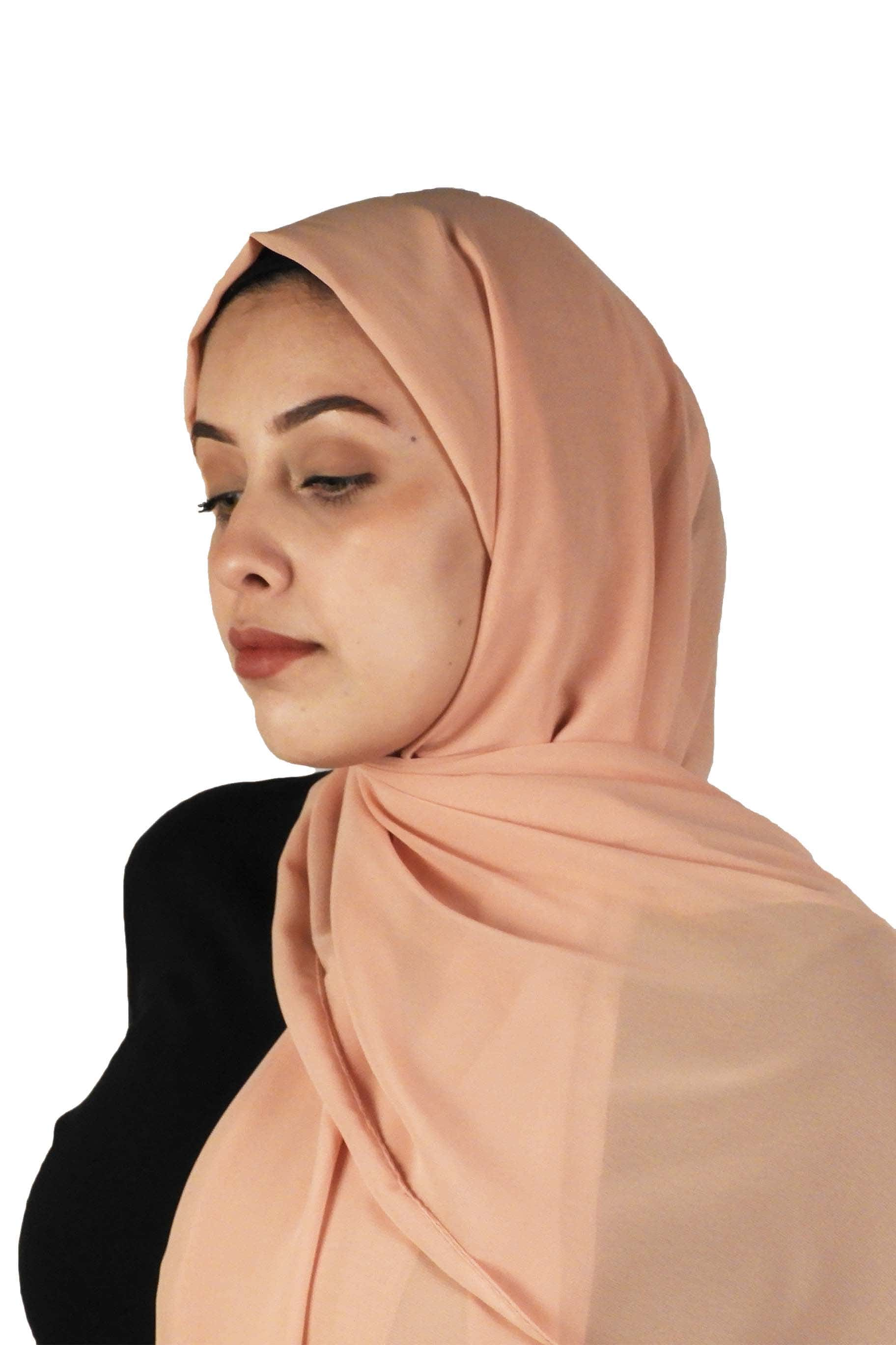 Peachy Nude Chiffon Hijab - The Modest Look