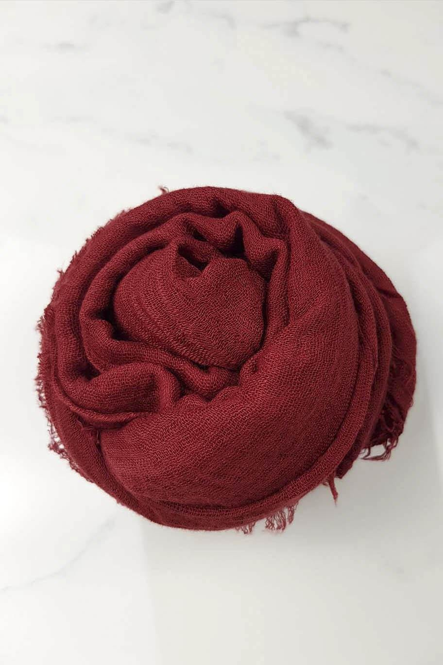Toofah Red-Maroon Crinkle Cotton - Crinkle Cotton Hijabs - The Modest Look