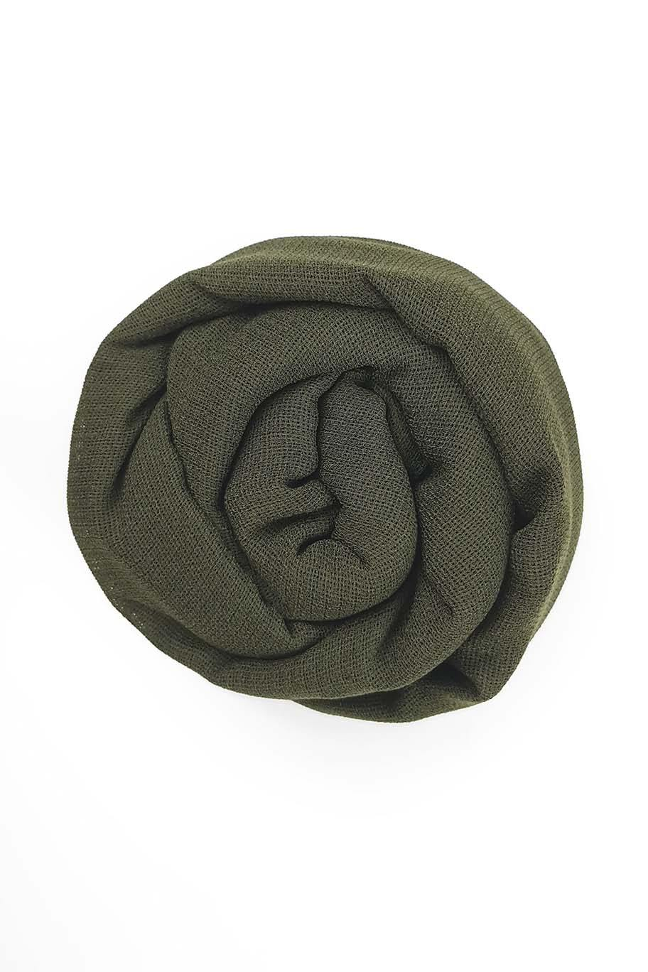 Deep Olive Green Jute Cotton - Jute-Cotton Hijab - The Modest Look