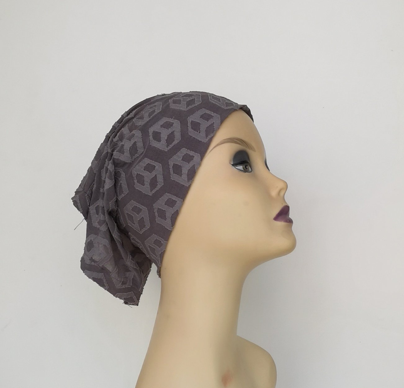 Printed Ash Brown Ready To Wear Hijab (Inner cap included) - Lycra Hijab - The Modest Look