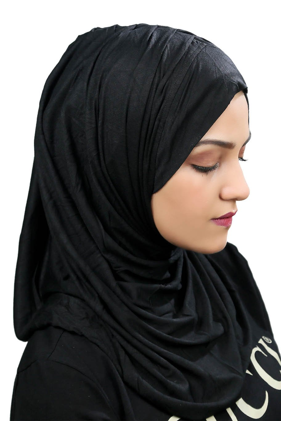 Elegant Black Ready To Wear Hijab - Jersey Hijab - The Modest Look