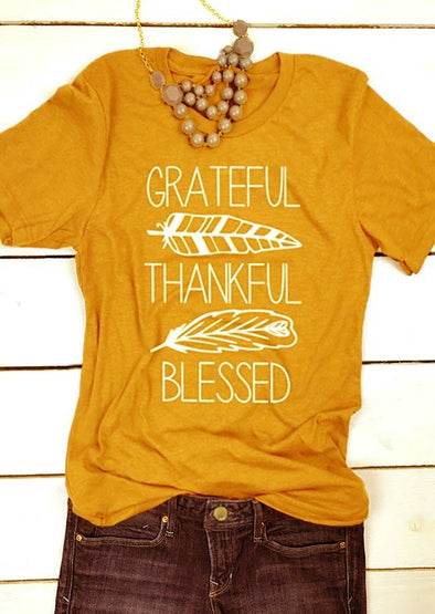 Grateful Thankful and Blessed T Shirt