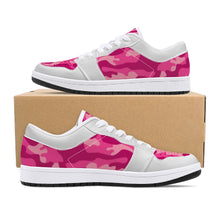 Load image into Gallery viewer, Pink Camo Low-Top Leather Sneakers