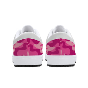 Pink Camo Low-Top Leather Sneakers