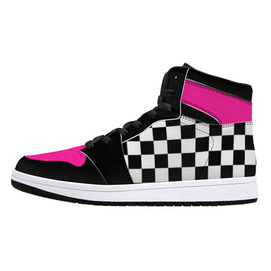 Pink/ Checkered Flag High-Top Leather Sneakers - Black