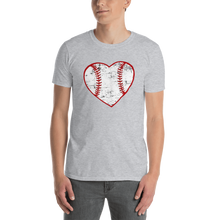 Load image into Gallery viewer, Love Baseball Heart Short-Sleeve Unisex T-Shirt