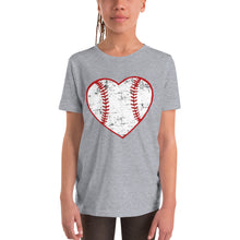 Load image into Gallery viewer, Love Baseball Heart Youth Short Sleeve T-Shirt