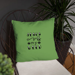 Jesus Weed Basic Pillow