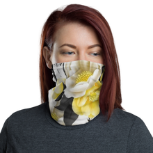 Load image into Gallery viewer, Flower Bee Yellow with Logo Neck Gaiter/ Mask