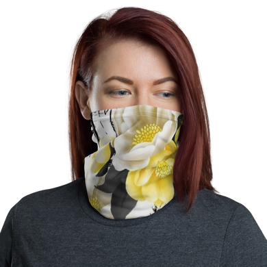 Flower Bee Yellow with Logo Neck Gaiter/ Mask