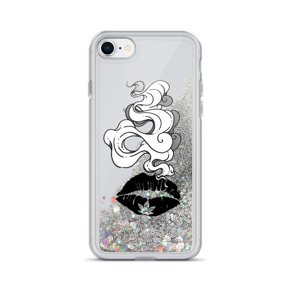 Smokin Weed Lips Liquid Glitter Phone Case
