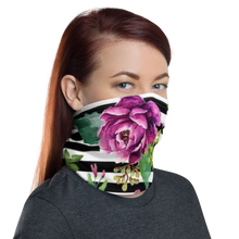 Load image into Gallery viewer, Pink Flower Stripes Neck Gaiter/ Mask