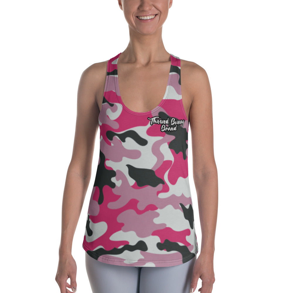 Thowed Bunny Brand (Camo Pink) Women's Racerback Tank