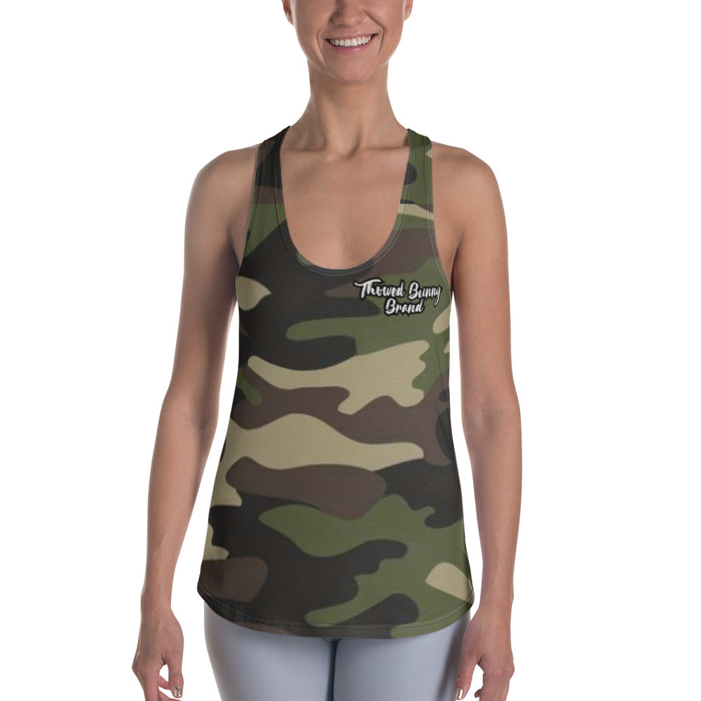 Thowed Bunny Brand (Camo Green) Women's Racerback Tank