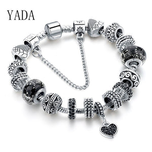 YADA BLACK Heart Bracelets&Bangles For Women Zircon Bracelets Crystal Jewelry Pulseras Mujer BT200217