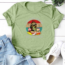 Load image into Gallery viewer, Sloth Shut The Fucupcakes Print T-shirt Round Neck Short Sleeve Cartoon Funny Tshirt