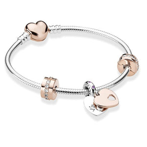 BRACE CO European Heart-shaped Pendant Charm Bracelet Fit Women's Jewellery Snake Chain Rose Gold Metal Fashion Fine Bracelets