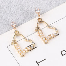Load image into Gallery viewer, elegant Exaggerated Heart-shaped Hanging Dangle Prevent Allergy Women's Earrings 2020 New Trend Rhinestone Fashion Stud Earrings