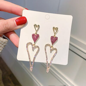 elegant Exaggerated Heart-shaped Hanging Dangle Prevent Allergy Women's Earrings 2020 New Trend Rhinestone Fashion Stud Earrings