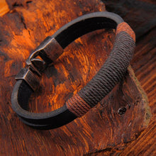 Load image into Gallery viewer, Retro Fashion Titanium Steel Black Leather Hemp Rope Bracelet Hand-woven PU Leather Bracelet Bangle For Women Men Jewelry