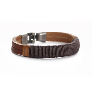 Retro Fashion Titanium Steel Black Leather Hemp Rope Bracelet Hand-woven PU Leather Bracelet Bangle For Women Men Jewelry
